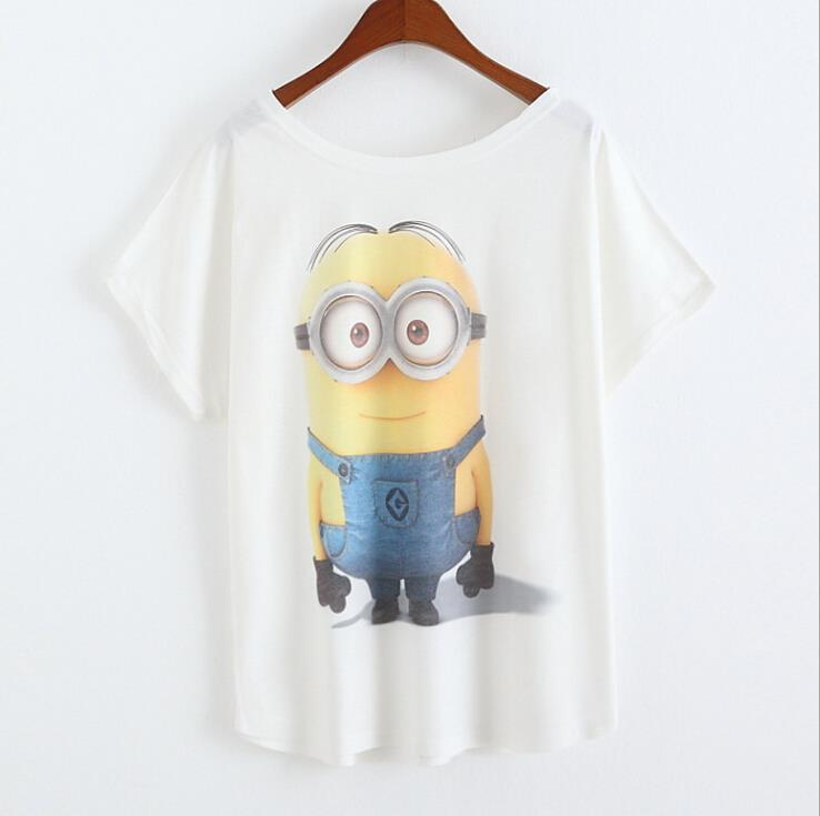 ca168b39d205 Get Quotations · 2015 Casual Tee Shirt Femme Graphic Tees Design Print  Cartoon Minions T Shirt Women Tops Batwing