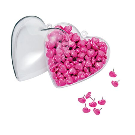 Office Depot(R) Brand Heart-Shaped Push Pins In Matching Container, 1/2in., Pink, Pack Of 200