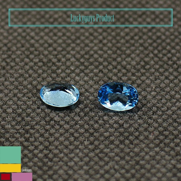 hydrothermal created gemstones swiss blue topaz colour oval shape