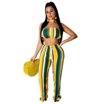 Womens Two Piece Sexy Off Shoulder Sleeveless Drawstring Wide Leg Long Pants Stripe Summer Set