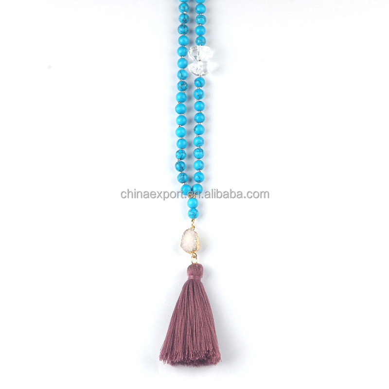 Fashion jewelry beads tassel necklace with druzy stone