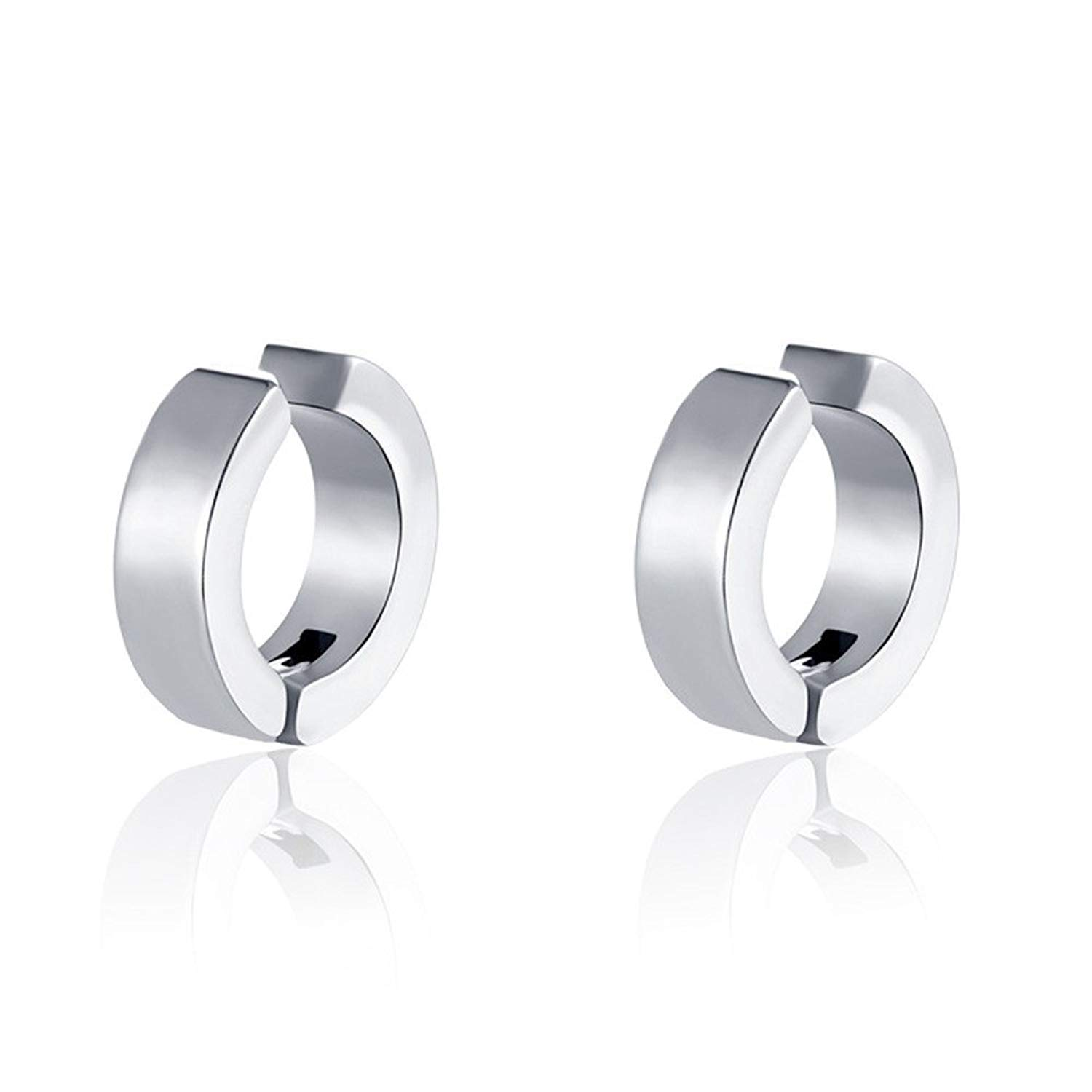 0068caae7 LF Stainless Steel Non-pierced Pure Huggie Small Hoop Earrings No Piercing  No Ear-