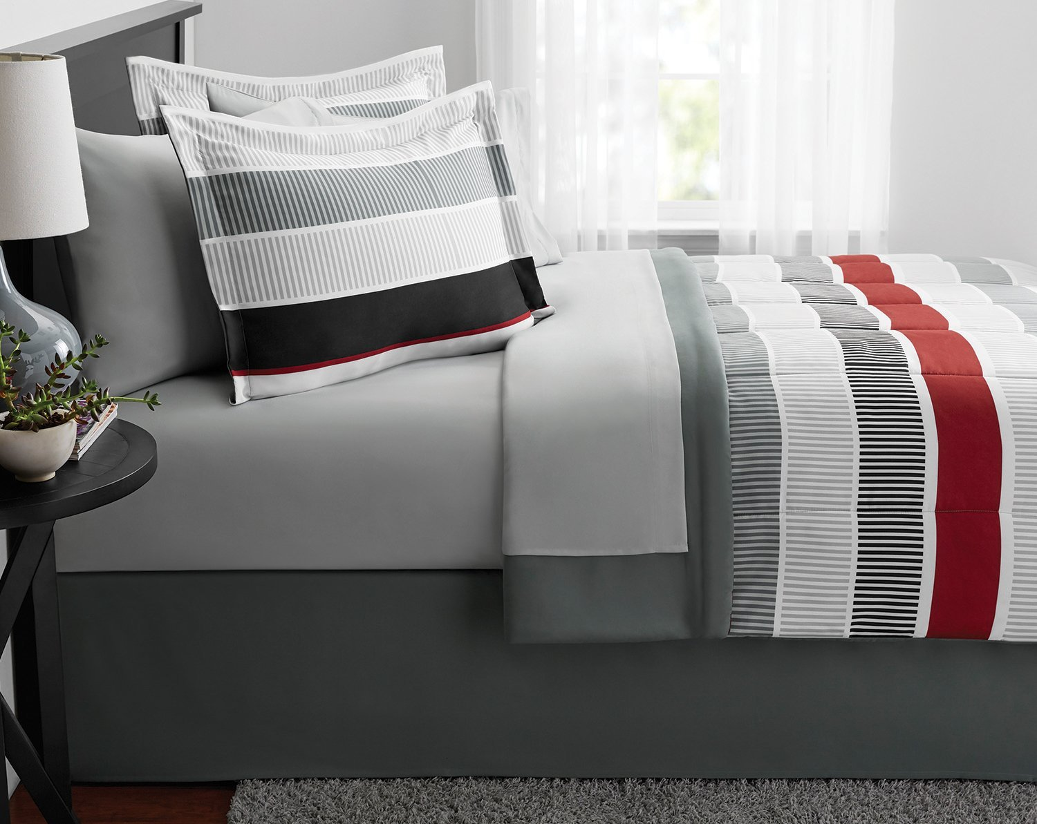 N2 8 Piece Grey Red White Rugby Stripes Comforter Queen Set, Horizontal Striped Bedding Sports Themed Modern Gray Toned Classic Stylish, Reversible Solid Microfiber Polyester