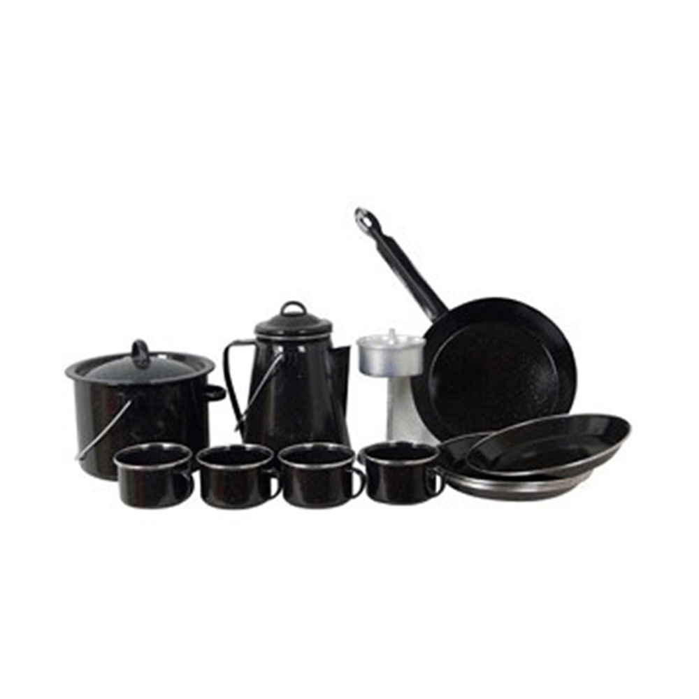Non-stick pressure steel enamelware cookware set, nonstick camping ceramic cookware set, palm restaurant cast iron cookware