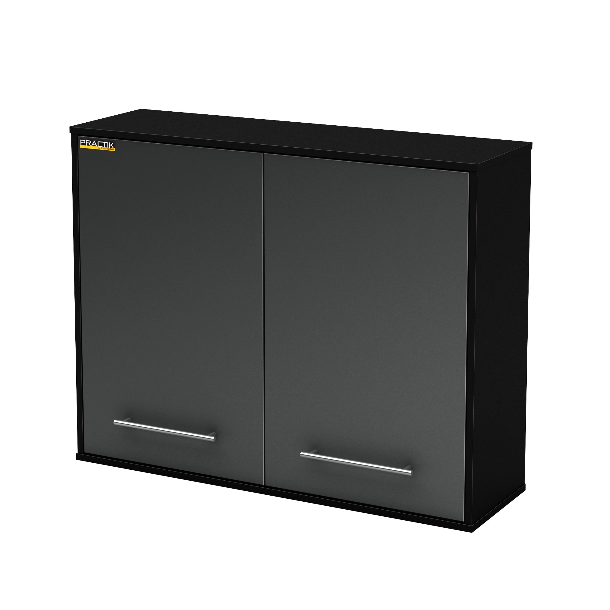 South Shore Karbon Collection Wall Storage Cabinet, Pure Black/ Charcoal