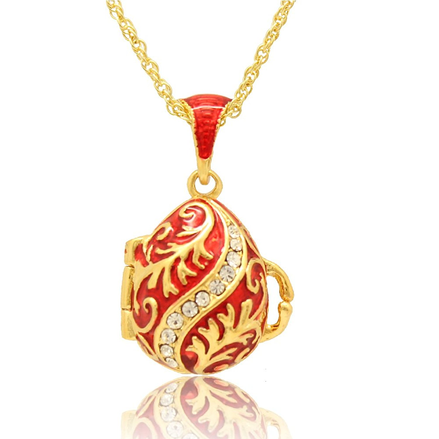MYD Jewelry Enameled Crystal Leaf Easter Faberge Egg Locket Pendant Necklace