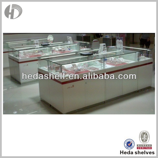 Famous brand lighted jewelry shopping mall showcase kiosk