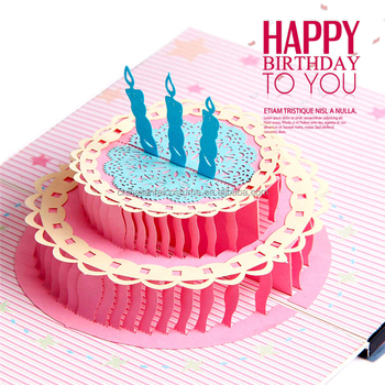 3D Cards Handmade Pop Up Greeting Card Happy Birthday Cake Wish For You