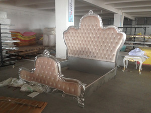antique pink flower design bed, king size bed for young