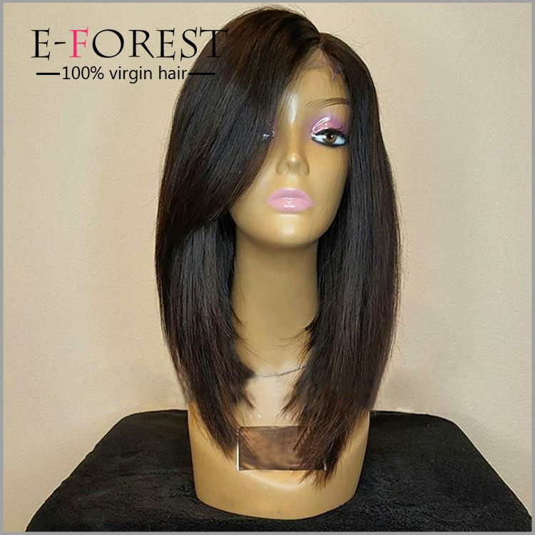 long front hair and short back bob style layed eurasian hair full lace wig