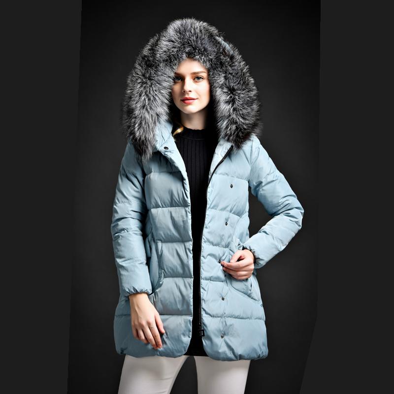 Высокое качество утка пуховик женщин твердый толстые зимнее пальто реального меховой воротник пуховик карманы теплая женская куртки и пальто