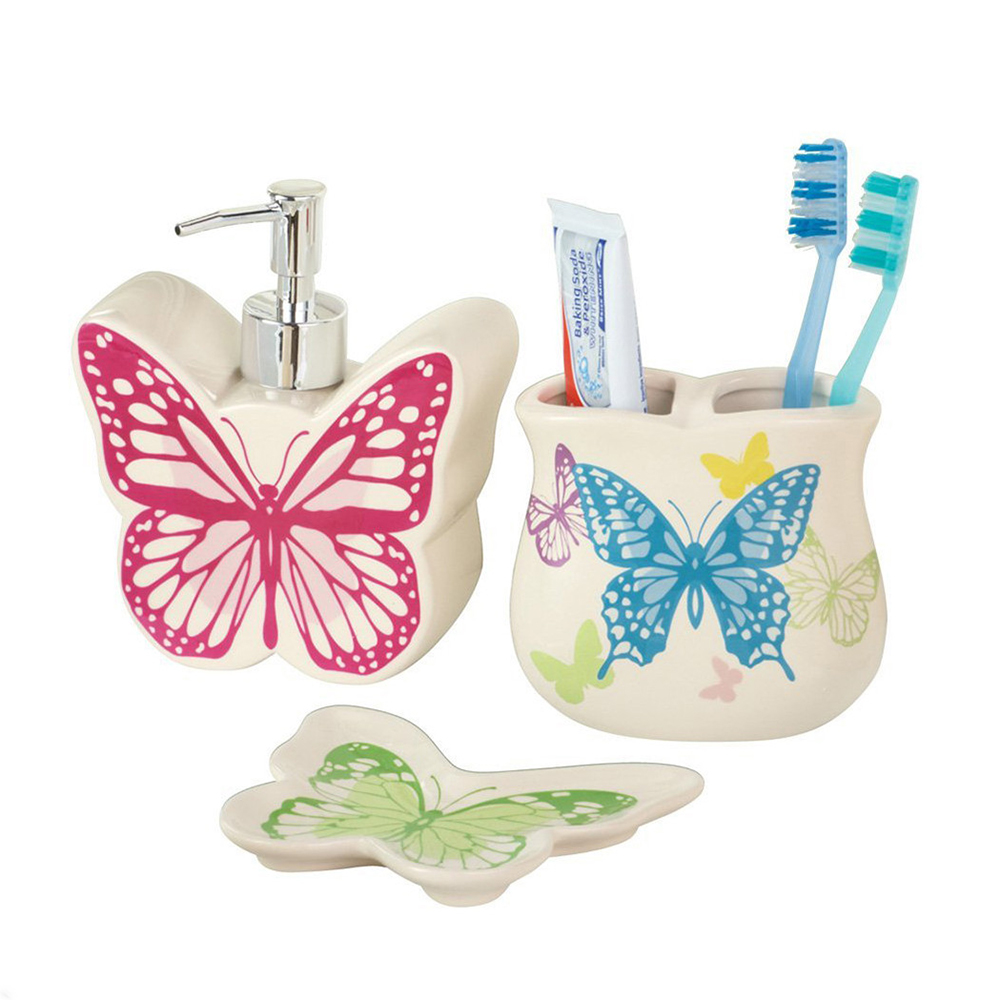 Cheap Ceramic Butterfly Bathroom Accessories Set