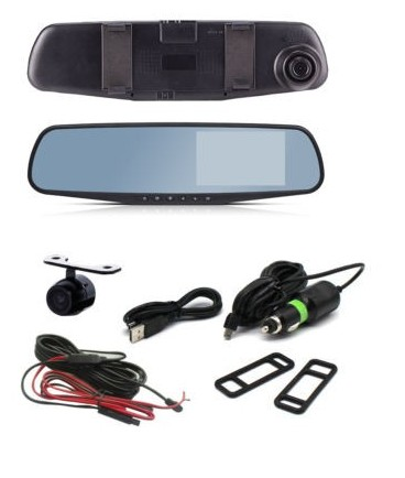 4.3 inch 16:9 TFT LCD fhd 1080 p Mobil DVR User Manual mobil Kamera dvr Video Recorder Dual lens dengan Backup Kamera dash cam
