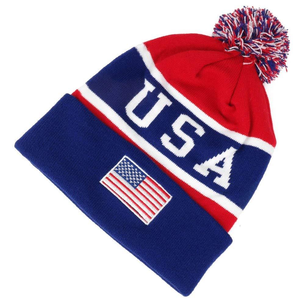 9719a85fe4c685 Buy USA Patriotic American Flag Beanie Hat USA Winter Skull Cap ...