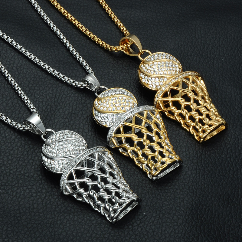 European hiphop stainless steel necklace crystal basketball cage pendant фото
