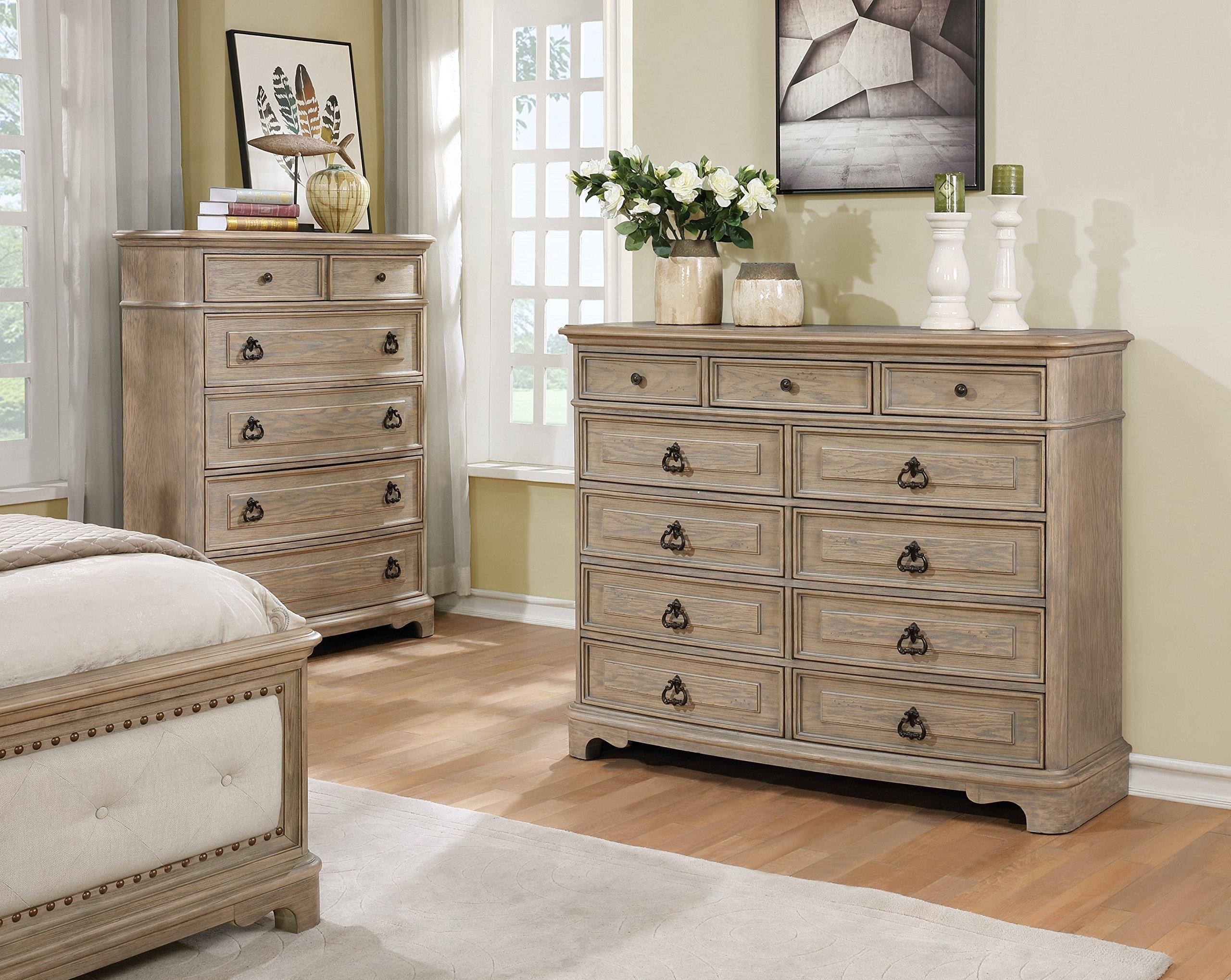 Roundhill Furniture B296D Piraeus 296 11 Drawers White Wash Dresser
