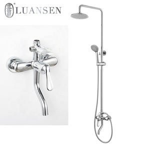 Luansen round shower head rain plumbing tri-divider adjustable bath tub thermostatic waterfall faucet sanitary