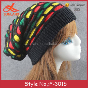 F 3015 New Winter Chunky Men Jamaica Knitted Free Rasta Hat Crochet
