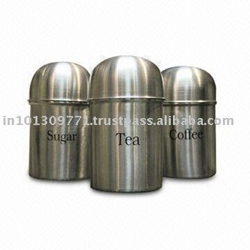 Stainless Steel Tea Coffee Sugar Canisters Canister Kitchenware Pasta