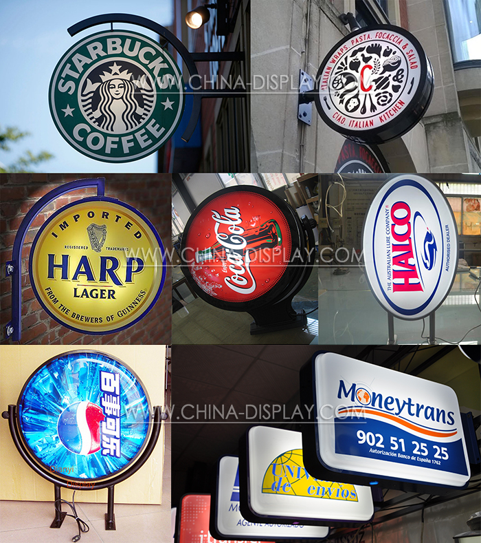 Round/rectangle advertising wall mounted custom logo led display