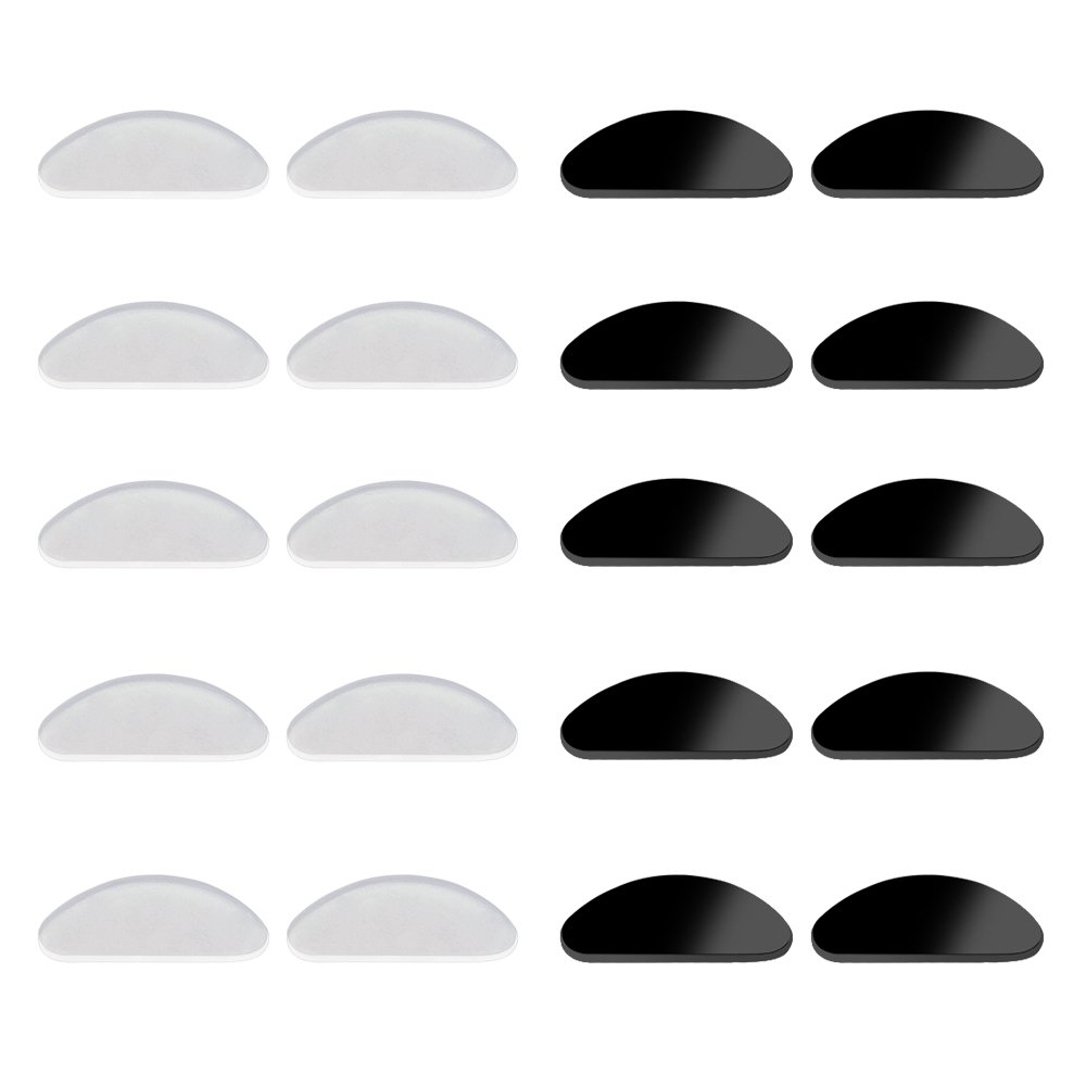 YR Soft Silicone Nose Pads,1mm Adhesive Anti-slip Eyeglass Pads For Eyeglasses Sunglasses Reading glasses,Clear and Black,10 Pairs