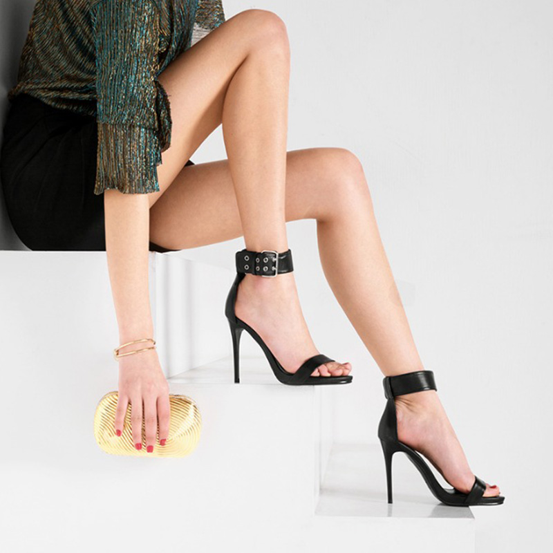 L319 consumers' satisfied feedback black high-heeled sandals shoes women leather
