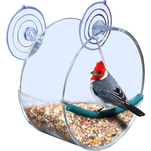 Fashion Acrylic Watch Wild Birds Up Close Round Window Bird Feeder for Bird Lovers & Fun Summer Activity for Kids As Great Gift