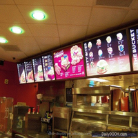 Fast Food Restaurant Advertising Snap Open Aluminum LED Menu board Light Box