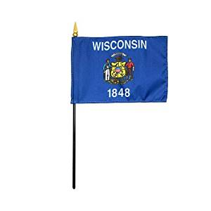 """Wisconsin 1848 State Hand Held Desk Table Top Polyester Flag 4"""" X 6"""" on 10"""" Black Plastic Staff with Gold Spear Tip (12 Pack)"""