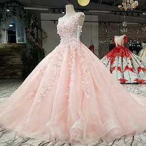 2987 pink ball gown wedding dress with flowers cap sleeve o-neck candy color girls dress for bridal with train as photos