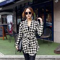 Korean Women sweaters Houndstooth Cardigan Cotton blend lady blouse Slim Long Sleeve Open Stitch Belt Coat