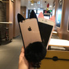 Flush Ball Tail Cute Cat Ear Transparent Full Cover TPU Heart Shape Hole Phone Case for iPhone 7/7 Plus