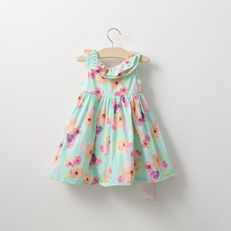 de1993c978349 Wholesale-New born baby girl mint floral print vintage bohemian dress 100%  cotton