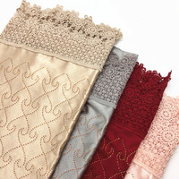 Muslim silk solid color hot diamond ladies hollow side turkey large square hijab lace scarves scarf