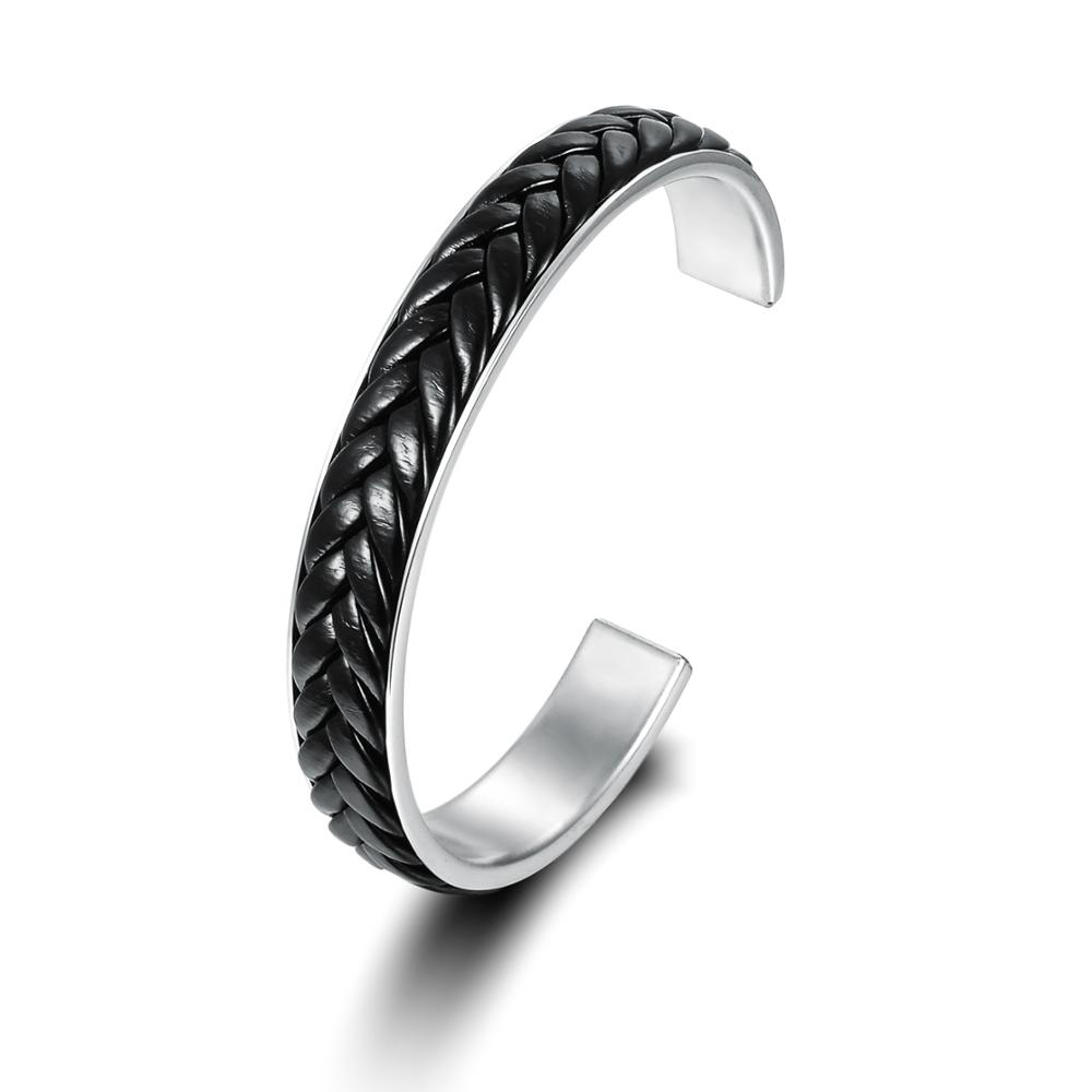 New Product Simple Design Women Men Black Leather Woven Stainless Steel Cuff Bracelet