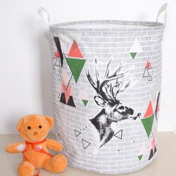 Home Storages Basket Cartoon Pattern Cotton Box Laundry Basket Washing Bags Foldable Laundry Hamper Collapsible basket