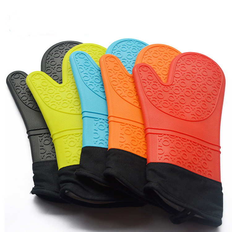 Cheap food grade black silicone oven mitts gloves for Kitchen Cooking