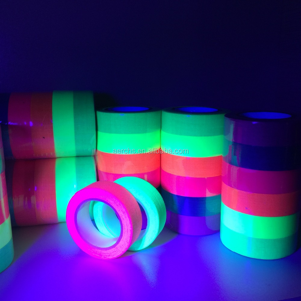 UV Blacklight Neon Fluorescent Duct Gaffer Cotton Tape for Party Decoration