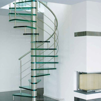 Indoor Modern Design Glass Spiral Staircase With Stainless Steel Balustrade  - Buy Stainless Steel Staircases,Glass Spiral Staircase,Prefab Spiral