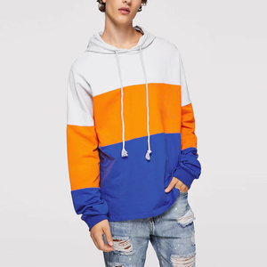 custom your own design men cut & sew hoodie color block pullover sweatshirt bright colored sweatshirts