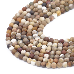 Haosiqi AAA grade jewelry material loose natural matte Petrified wood agate gemstone bead strand