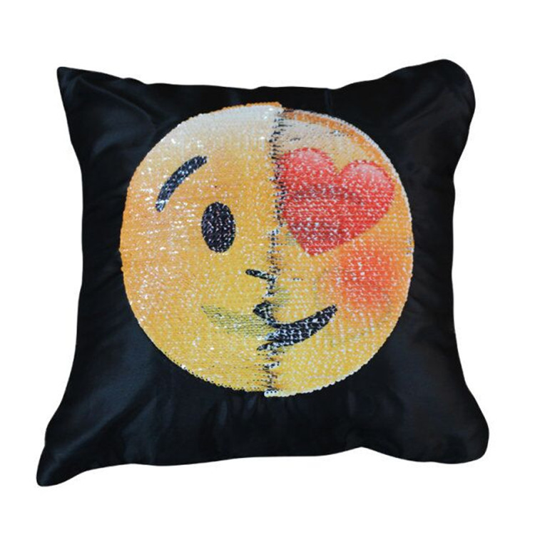 100% polyester latest design change emoji expression mermaid sequin pillow cover