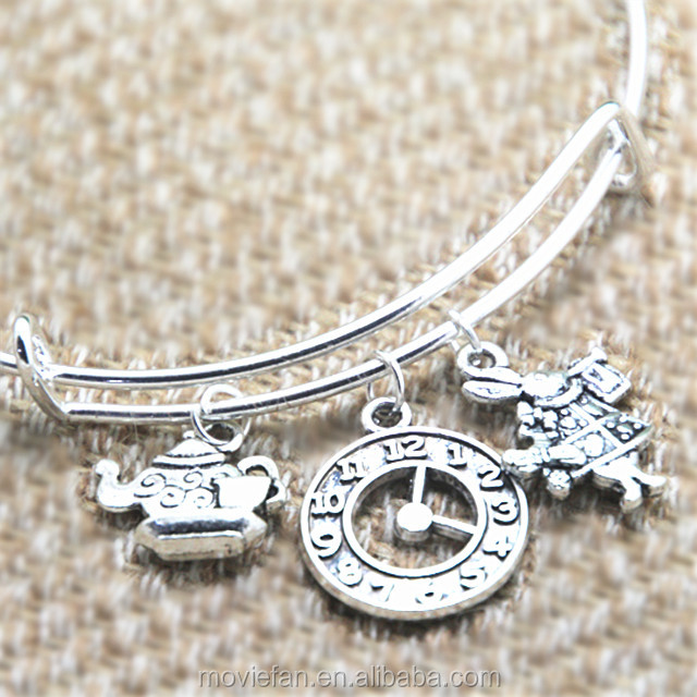 Alice in Wonderland inspired bracelet Teapot with teacup Clock white rabbit charm bangle bracelet