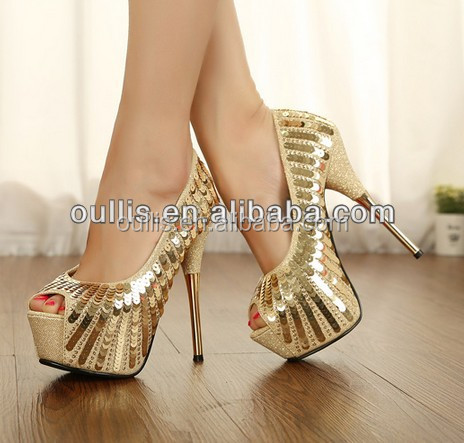 2016 factory wholesale new model women platform gold high heels PMS2803