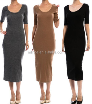 59d48fa9d2b SOLID RIBBED SCOOP NECK BODYCON DRESS LADIES HALF SLEEVE THICK KNIT LONG  DRESS WOMEN TIGHT FITTING