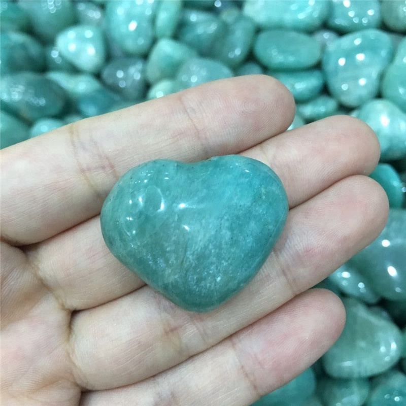 lucky stone 100% natural amazonite stone heart reiki healing crystals love gemstones as wedding gifts for guests wholesale
