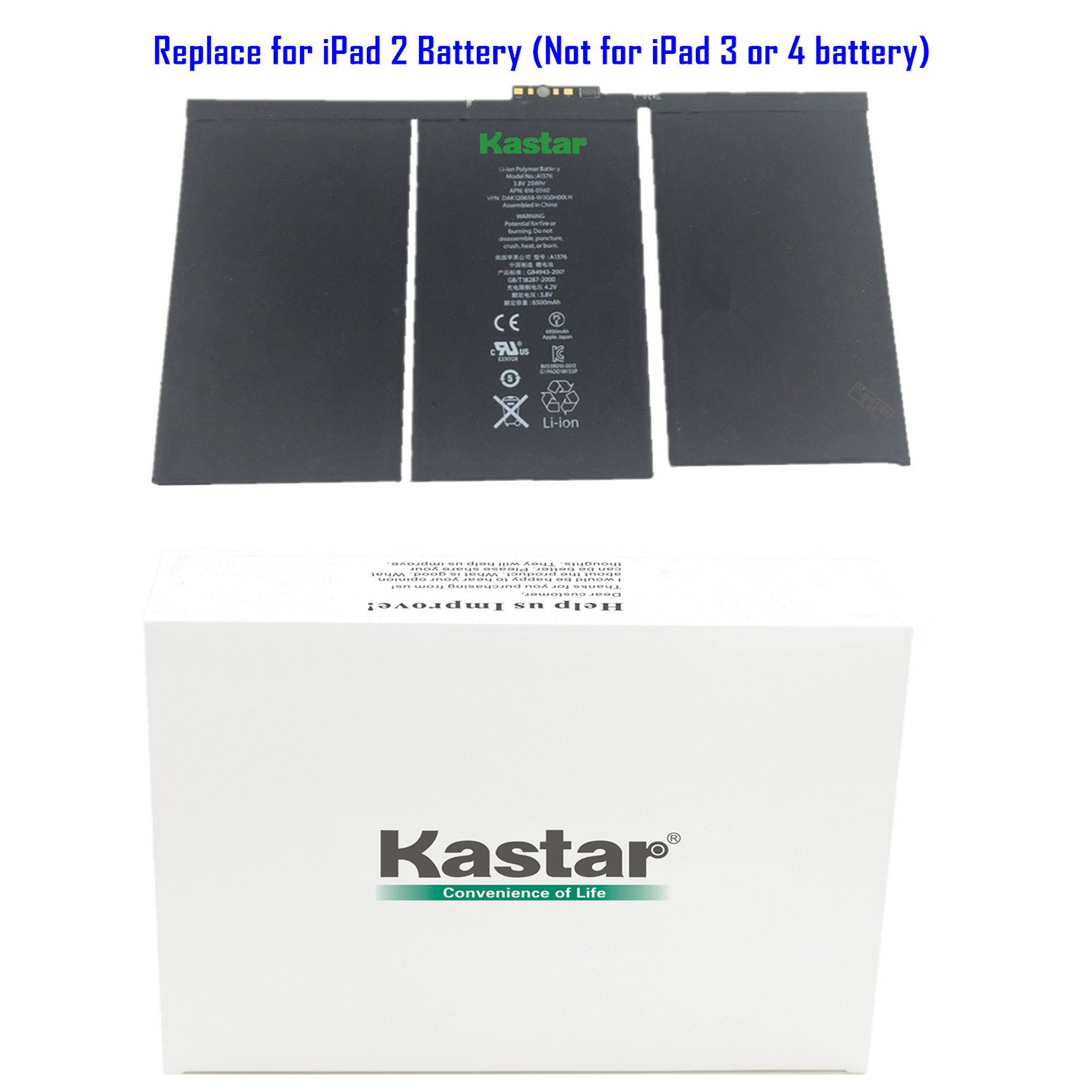 Kastar Battery for Apple iPad 2 (the 2nd Generation iPad) Replacement Internal Battery 3.8V 25Whr 6500mAh Fixes for Apple iPad 2 iPad2
