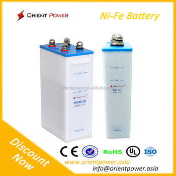 300Ah Nickel ion Military quality standard 20 years Life 11000 cycle 1.2V Nominal Voltage nickel iron battery