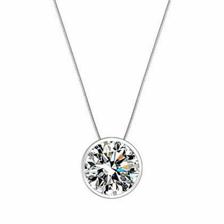 Wholesale Silver 925 Necklace Shining Stars Round Necklaces & Pendants Fine Jewelry Sterling Silver Jewelry for Women