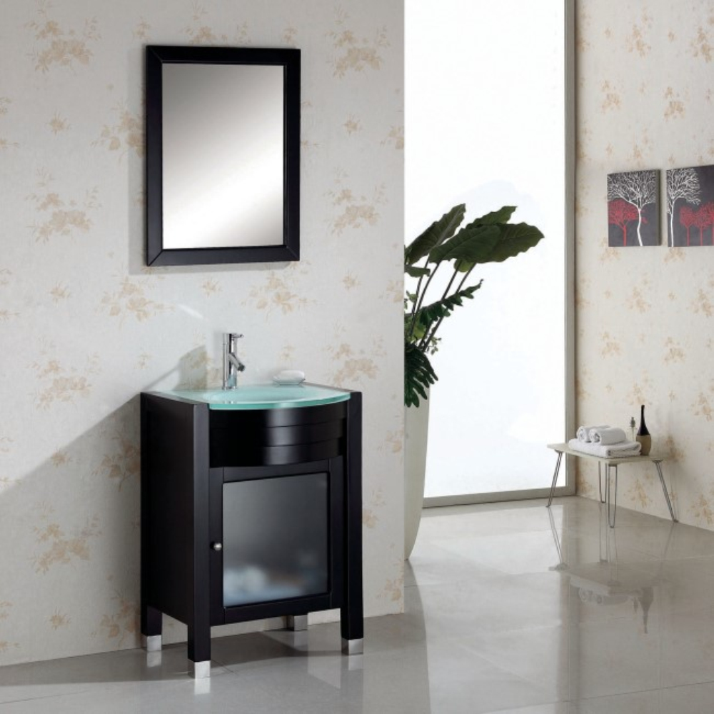 Wooden Glass Bathroom Cabinet Vanity